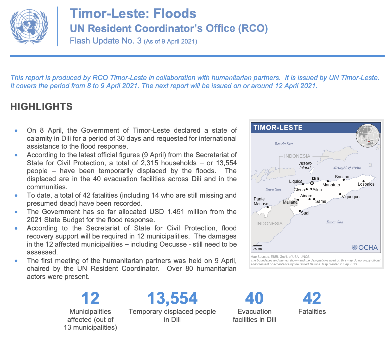 Timor-Leste Flood Response Flash Update No. 3 (9 April 2021)