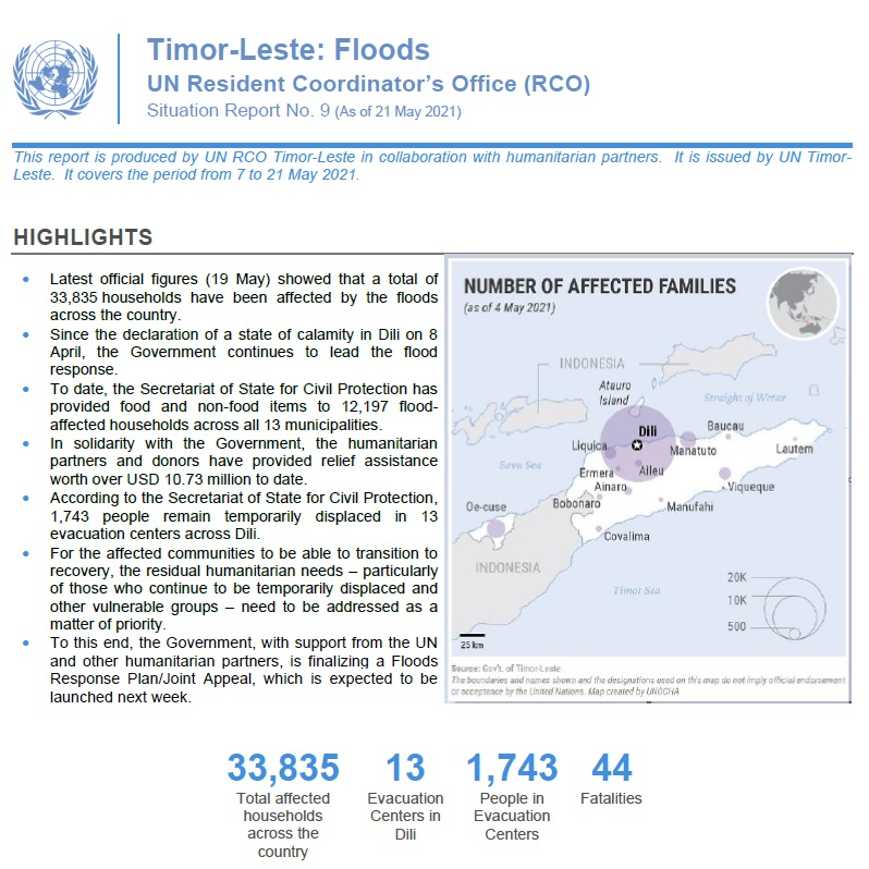 Timor Leste Floods: UN Situation Report No. 9 (As of 21 May 2021)