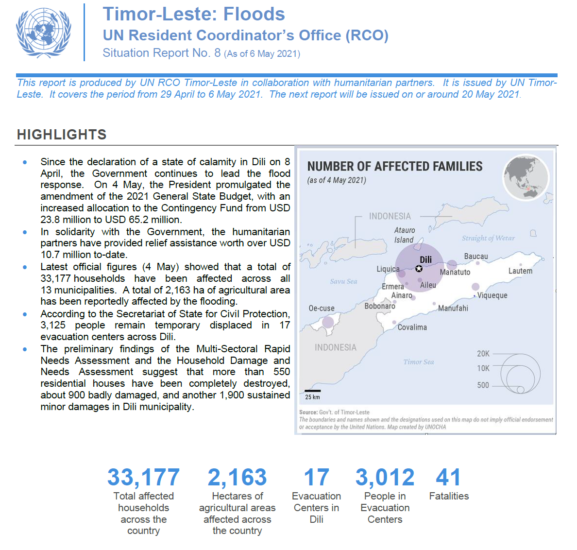 Timor Leste Floods: UN Situation Report No. 8 (As of 06 May 2021)