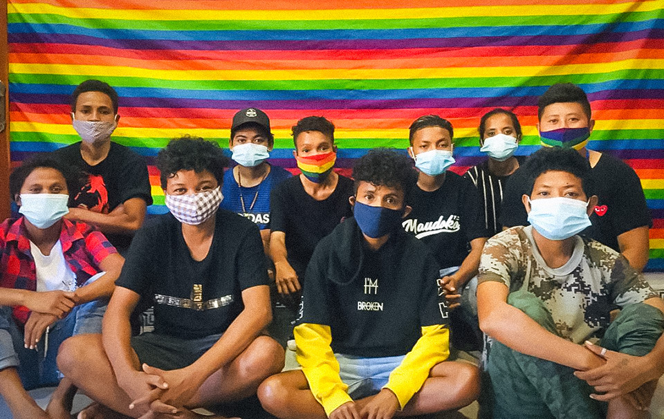 Some LBT members of Arcoiris who were in the front line supporting the community kitchen. Photo: Arcoiris Timor-Leste