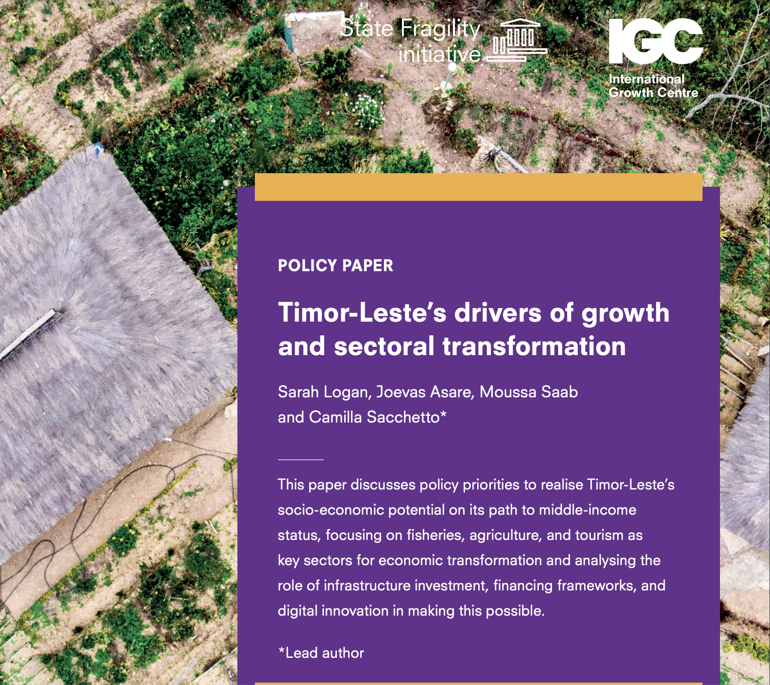 Thispolicy paperdiscusses policy priorities to realise Timor-Leste's socio-economic potential on its path to middle-income status, focusing on fisheries, agriculture, and tourism as key sectors for economic transformation and analysing the role of infrastructure investment, financing frameworks, and digital innovation in making this possible.