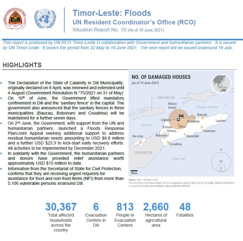 UN Resident Coordinator 's Office (RCO) Issues Timor Leste Floods Update No. 10