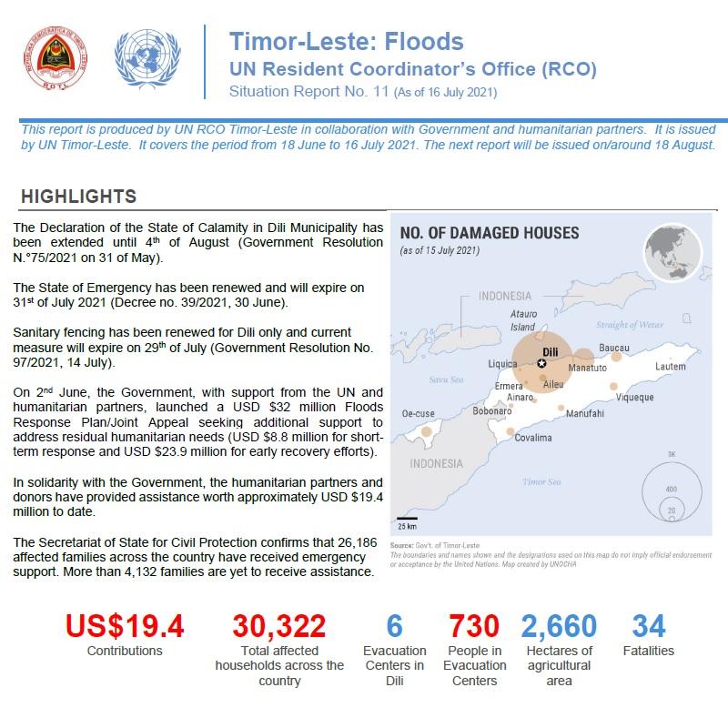 Timor Leste Floods: UN RCO Update No. 11