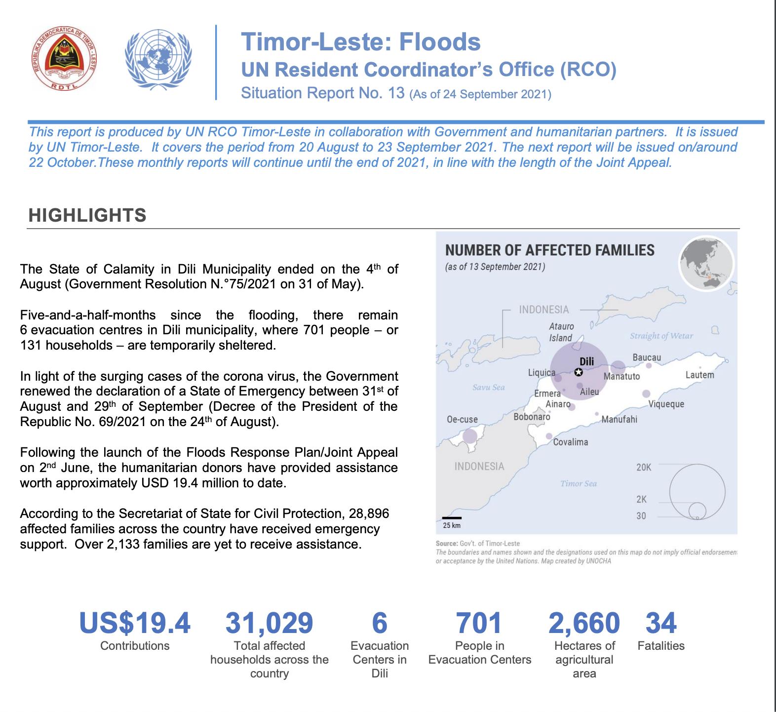 Timor-Leste Flood Response Situation Report No. 13 (24 September 2021)